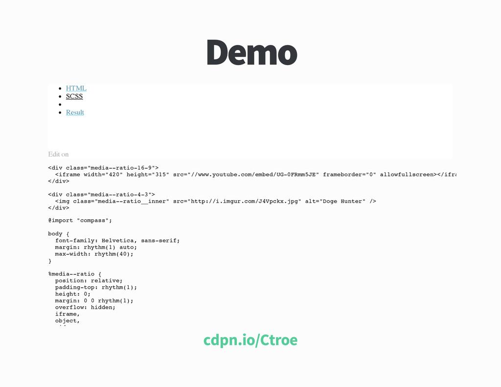 Demo HTML SCSS Result Edit on < d i v c l a s s...