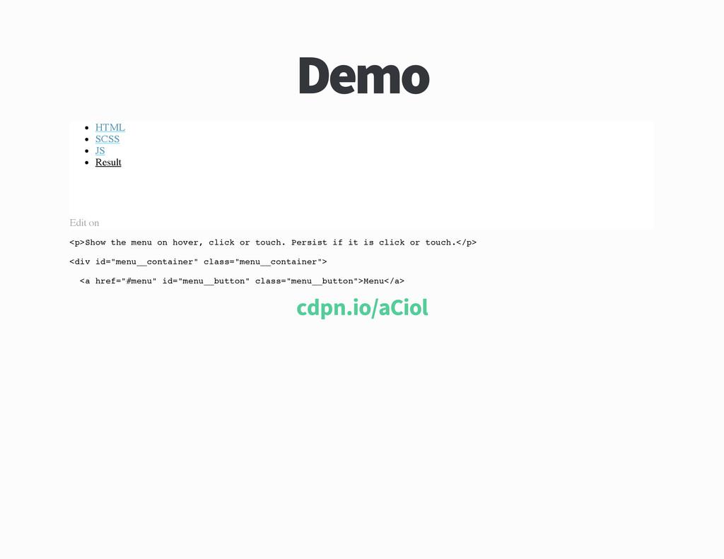 Demo HTML SCSS JS Result Edit on < p > S h o w ...