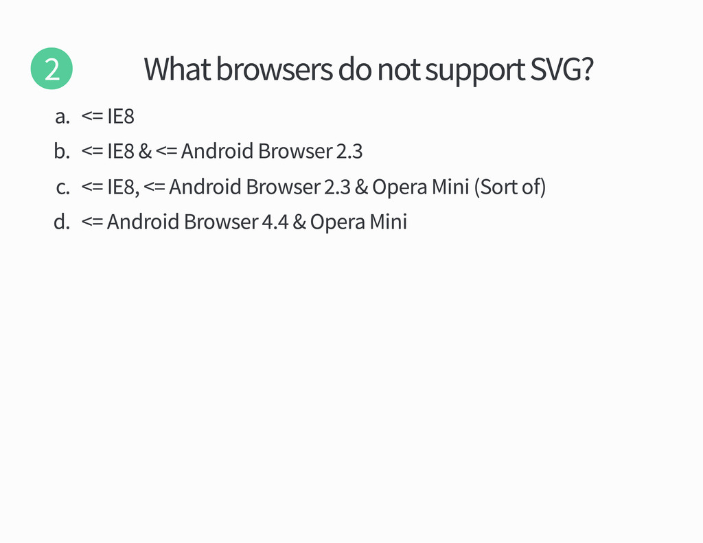 What browsers do not support SVG a IE b IE Andr...