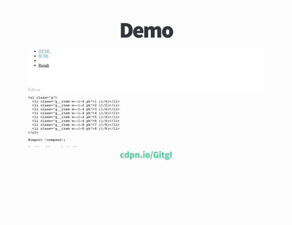 Demo HTML SCSS Result Edit on < u l c l a s s =...