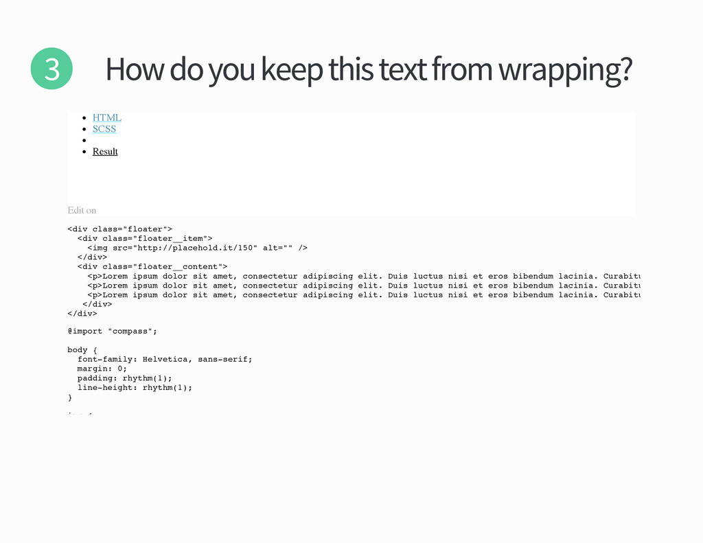 How do you keep this text from wrapping HTML SC...