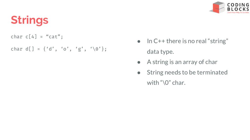 """Strings char c[4] = """"cat""""; char d[] = {'d', 'o'..."""