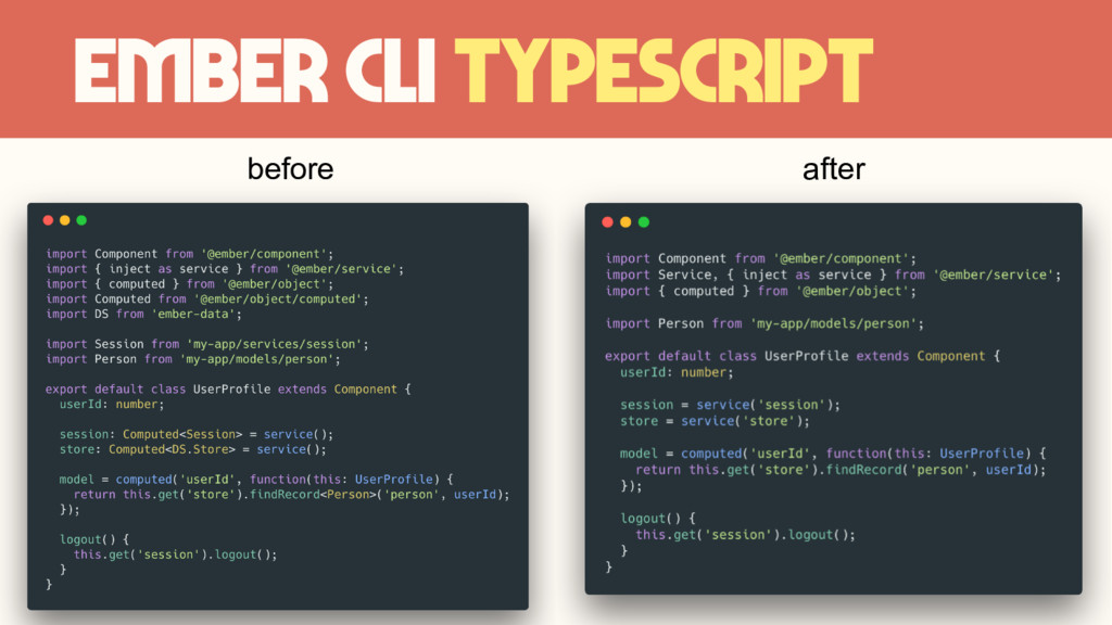Ember CLI TypeScript before after