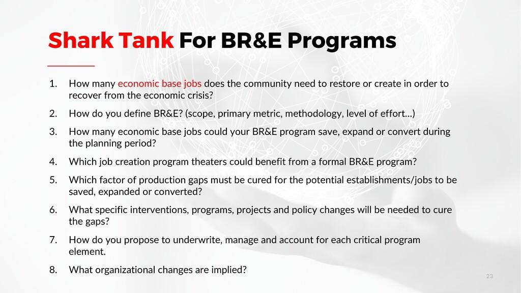 Shark Tank For BR&E Programs 1. How many econom...