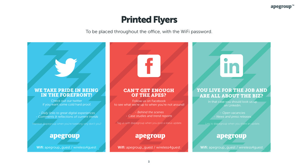 3 Printed Flyers To be placed throughout the offi...