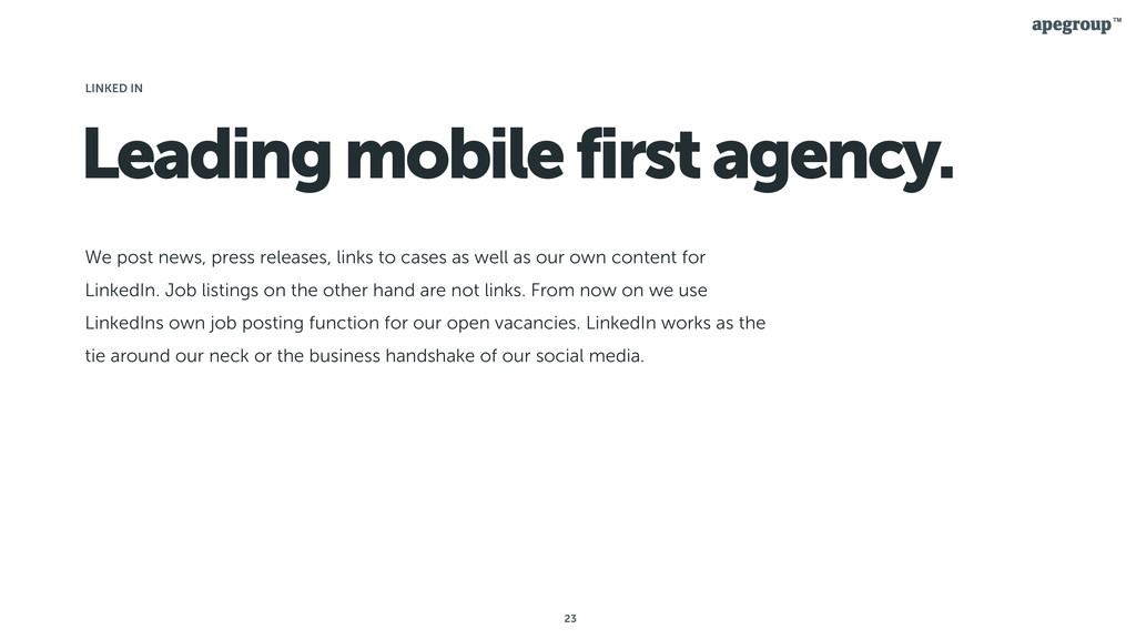 23 Leading mobile first agency. We post news, p...