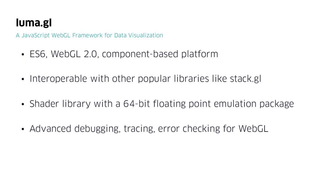 • ES6, WebGL 2.0, component-based platform • In...
