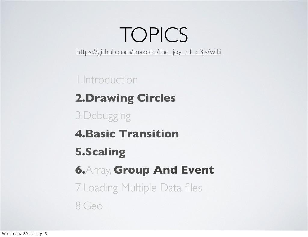 TOPICS 1.Introduction 2.Drawing Circles 3.Debug...