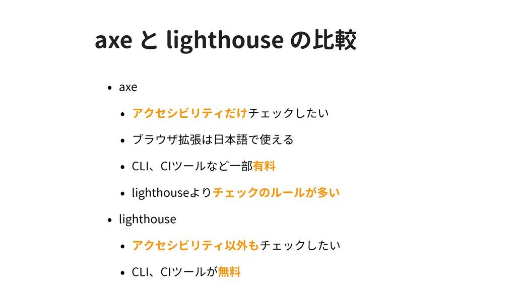 axe と lighthouse の比較 • axe • アクセシビリティだけチェックしたい ...