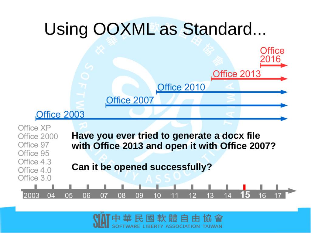 Using OOXML as Standard... Office 2007 Office 2...