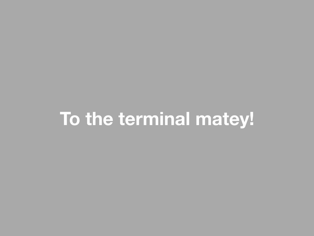 To the terminal matey!