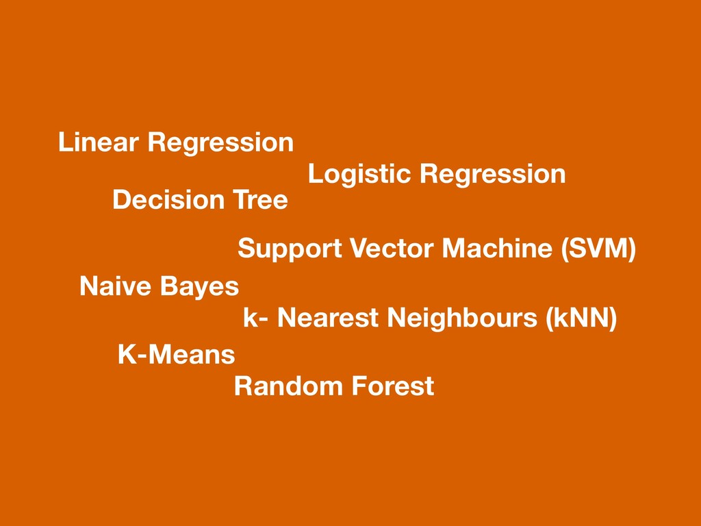 Linear Regression Decision Tree Naive Bayes K-M...