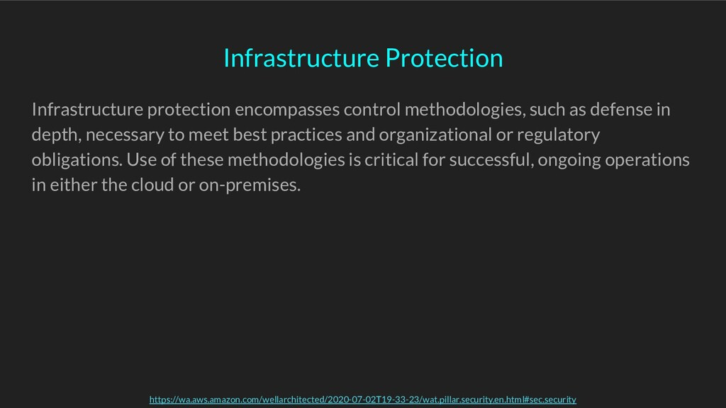 Infrastructure protection encompasses control m...