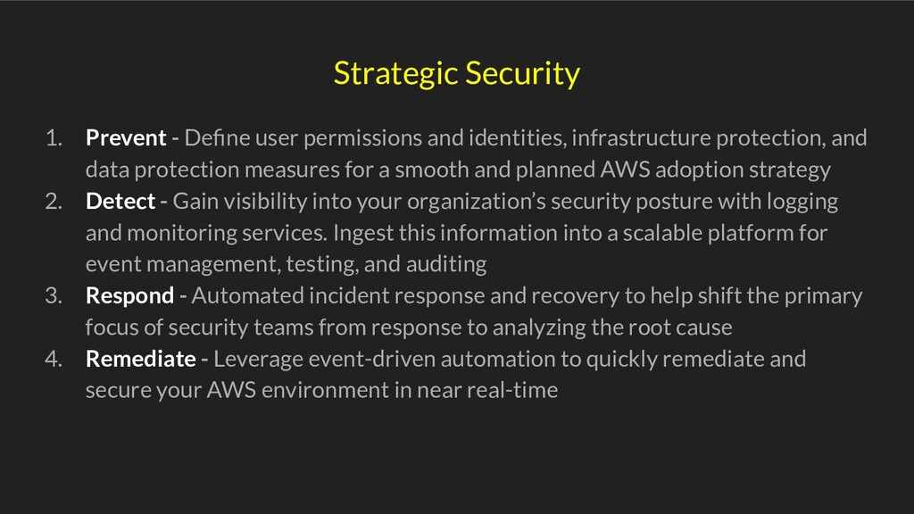 Strategic Security 1. Prevent - Define user perm...