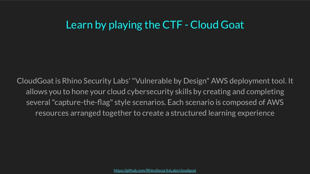 Learn by playing the CTF - Cloud Goat CloudGoat...