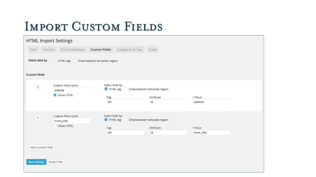 Import Custom Fields
