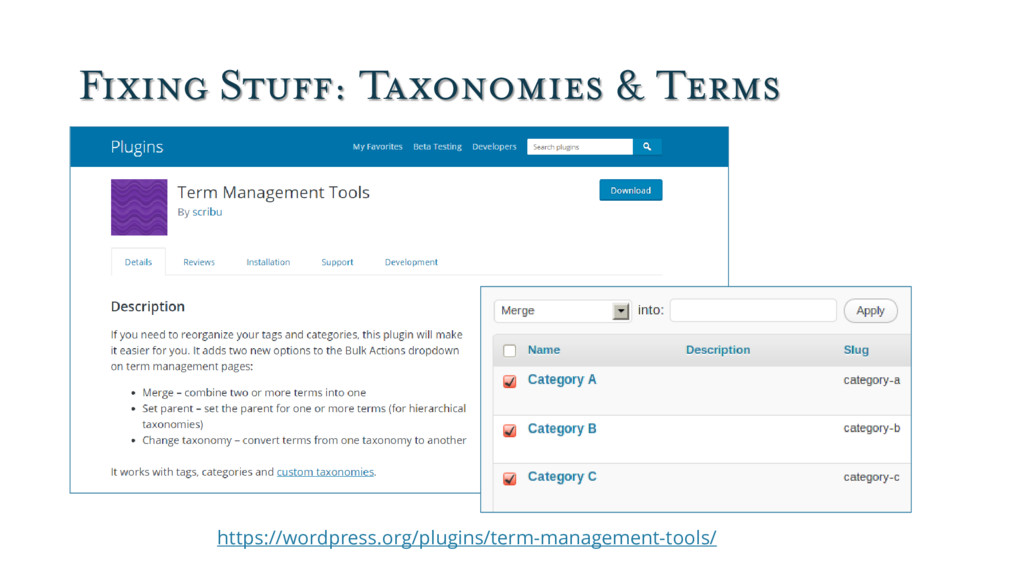 Fixing Stuff: Taxonomies & Terms https://wordpr...
