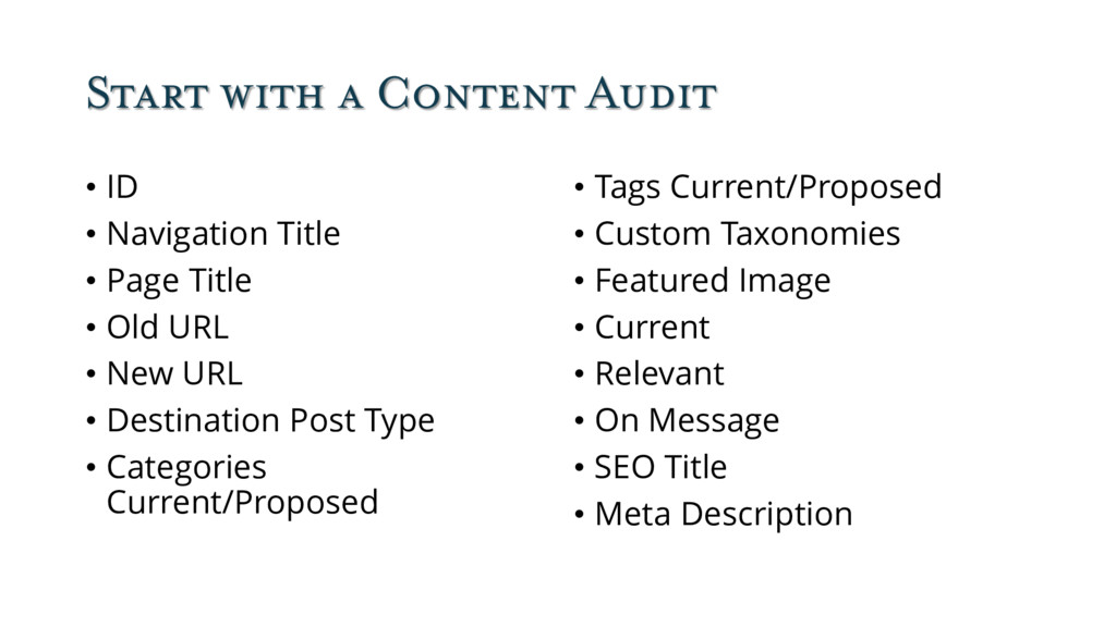 Start with a Content Audit • ID • Navigation Ti...