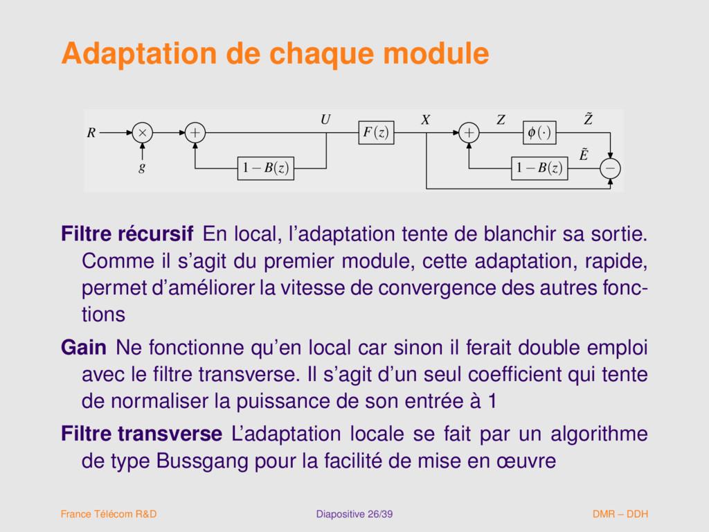 Adaptation de chaque module R × + F(z) + φ(·) g...