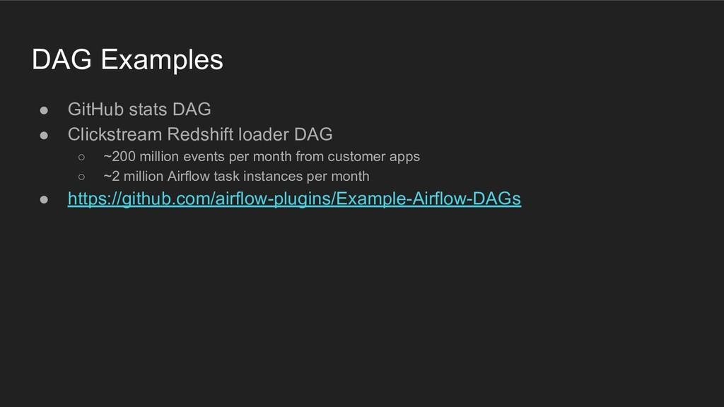 ● GitHub stats DAG ● Clickstream Redshift loade...