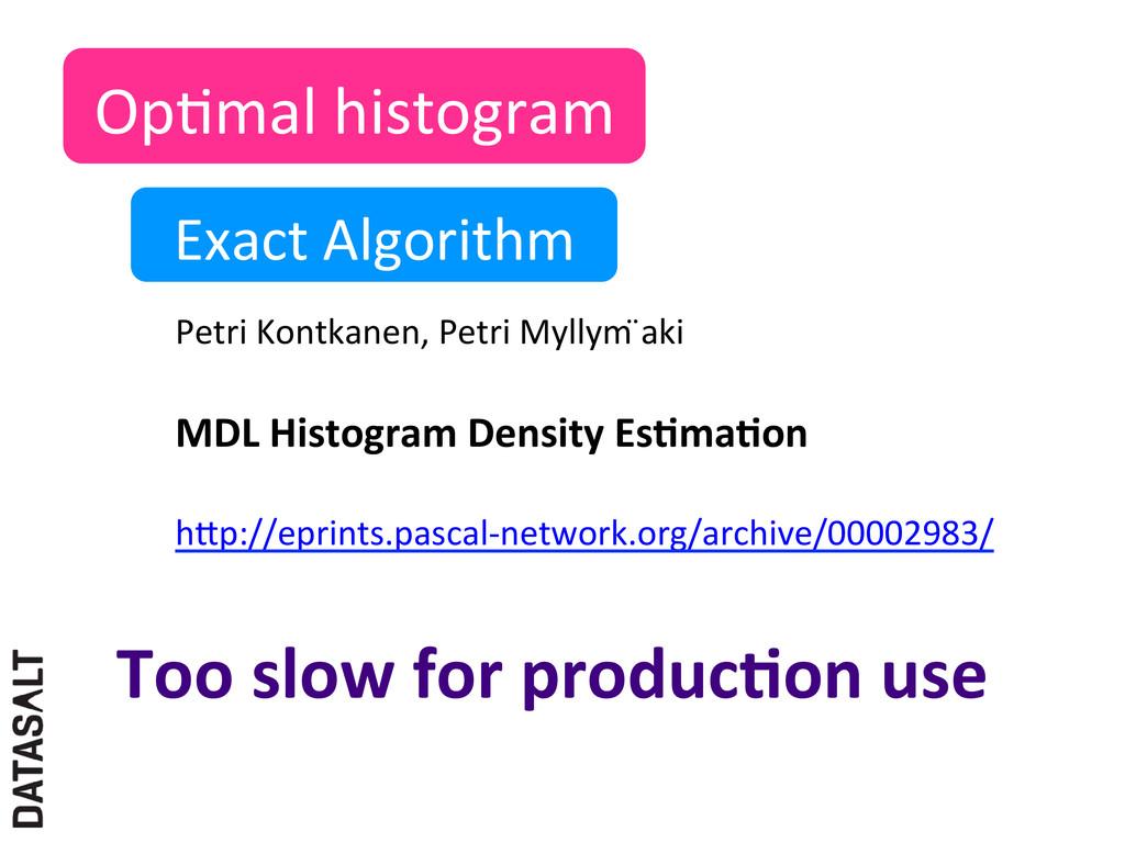 OpNmal histogram  Exact Algorithm  ...