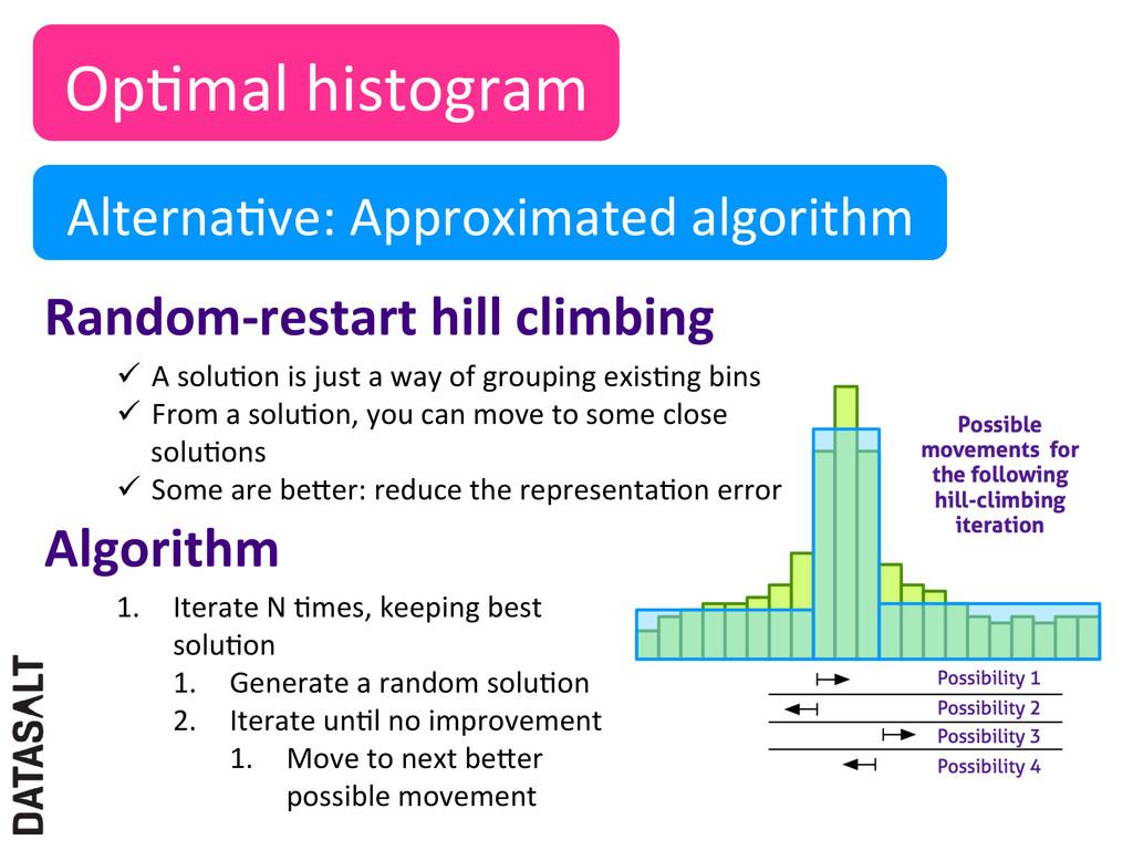 OpNmal histogram  AlternaNve: Approxim...