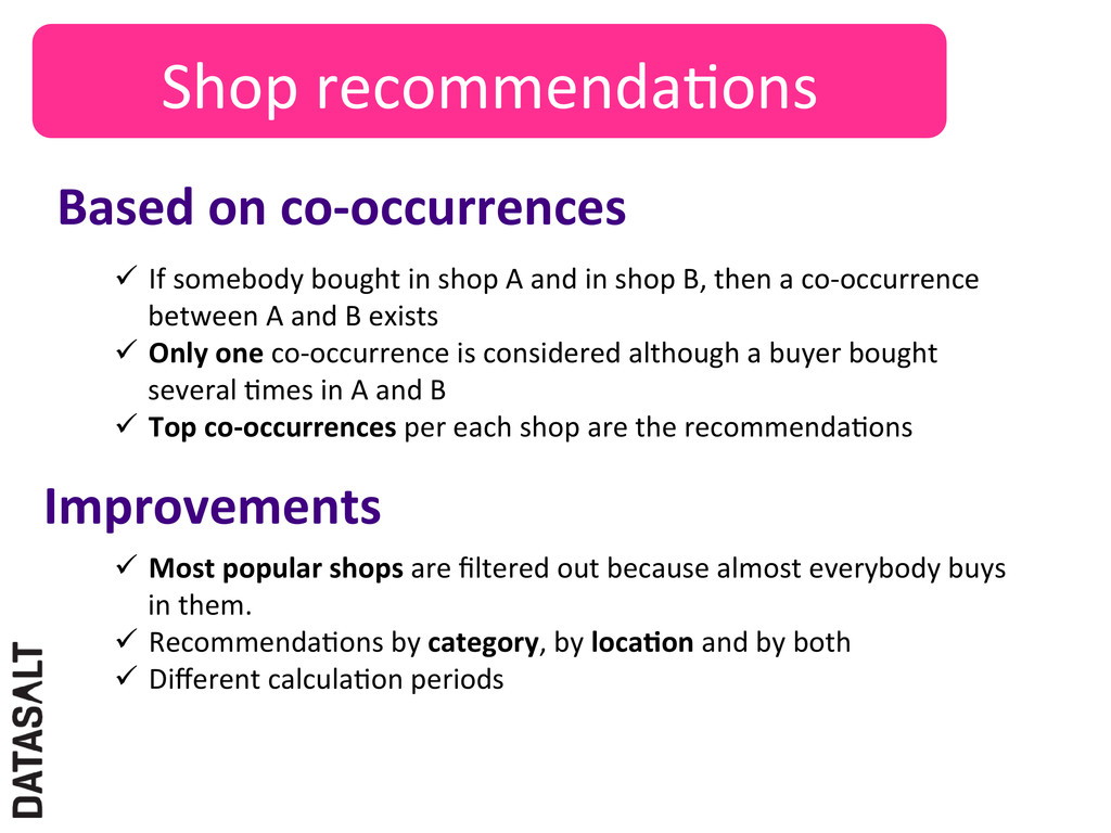 Shop recommendaNons  Based on co-‐...