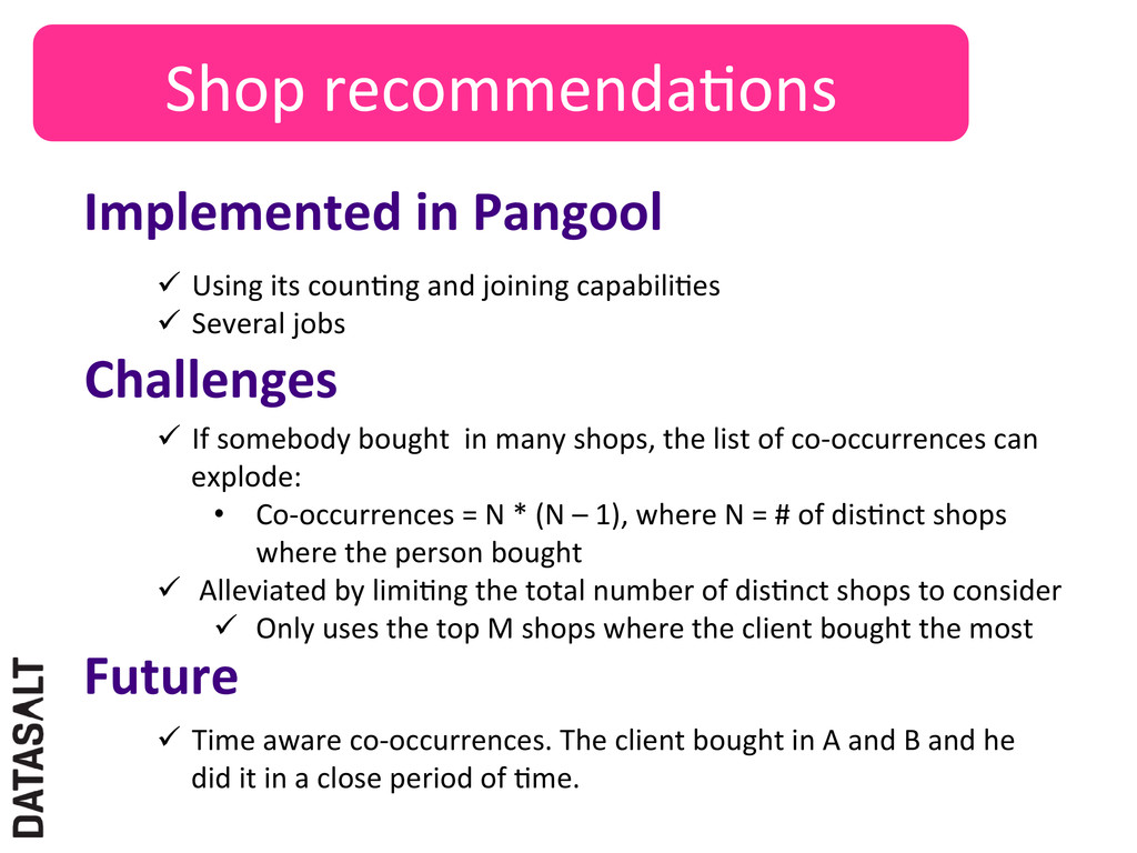 Shop recommendaNons  Implemented in ...
