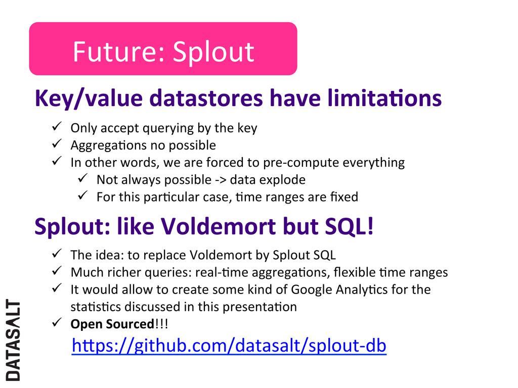 Future: Splout  Key/value datastores...
