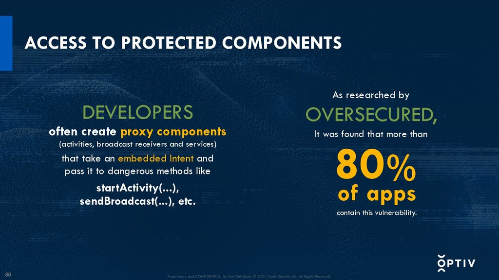 35 ACCESS TO PROTECTED COMPONENTS As researched...
