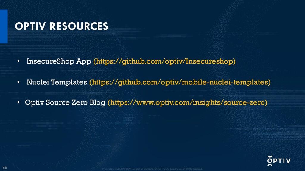 65 OPTIV RESOURCES • InsecureShop App (https://...