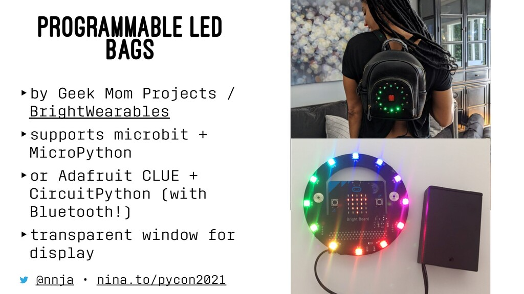 PROGRAMMABLE LED BAGS ‣by Geek Mom Projects / B...