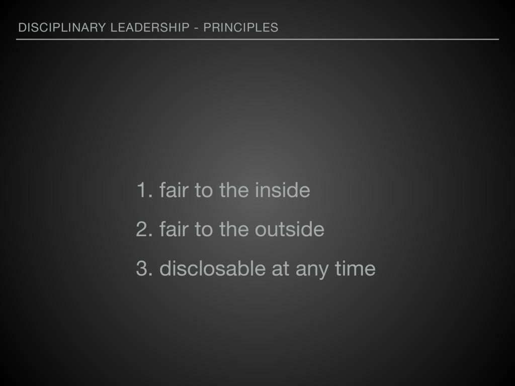 DISCIPLINARY LEADERSHIP - PRINCIPLES 1. fair to...