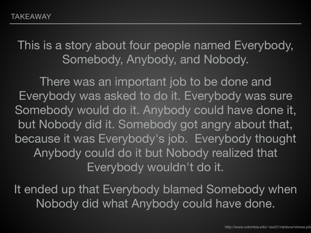 TAKEAWAY This is a story about four people name...