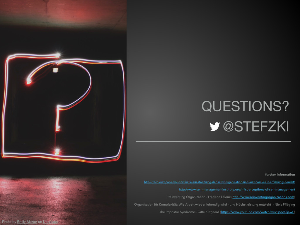 QUESTIONS?  @STEFZKI Photo by Emily Morter on U...
