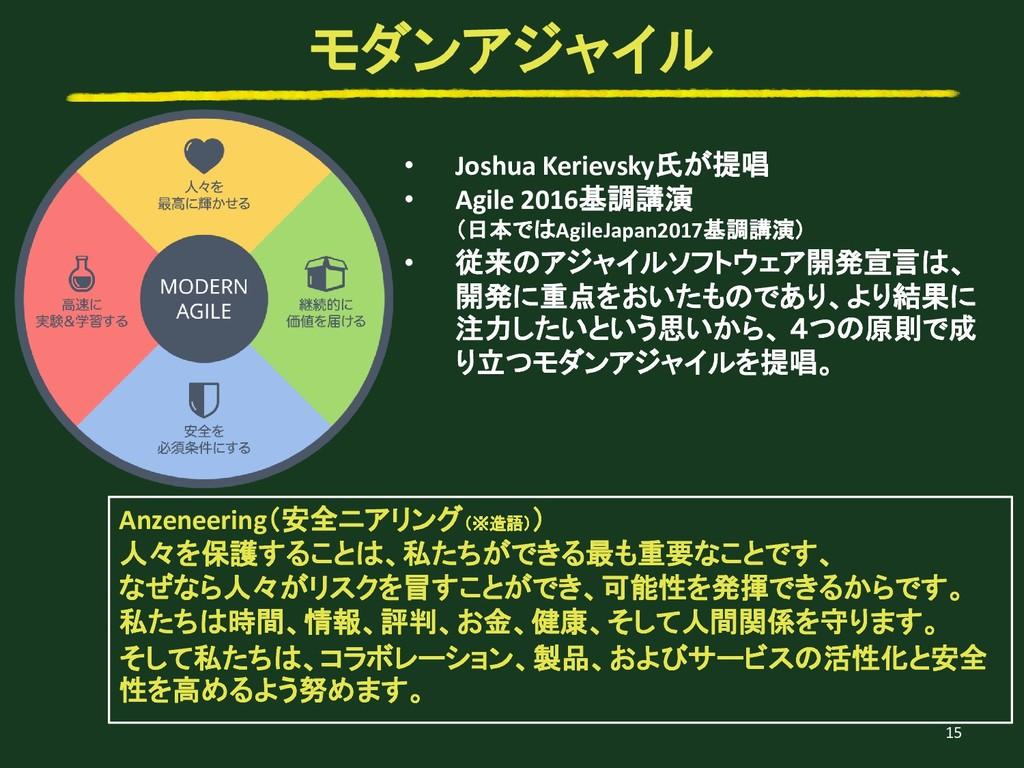 • Joshua Kerievsky氏が提唱 • Agile 2016基調講演 (日本ではAg...