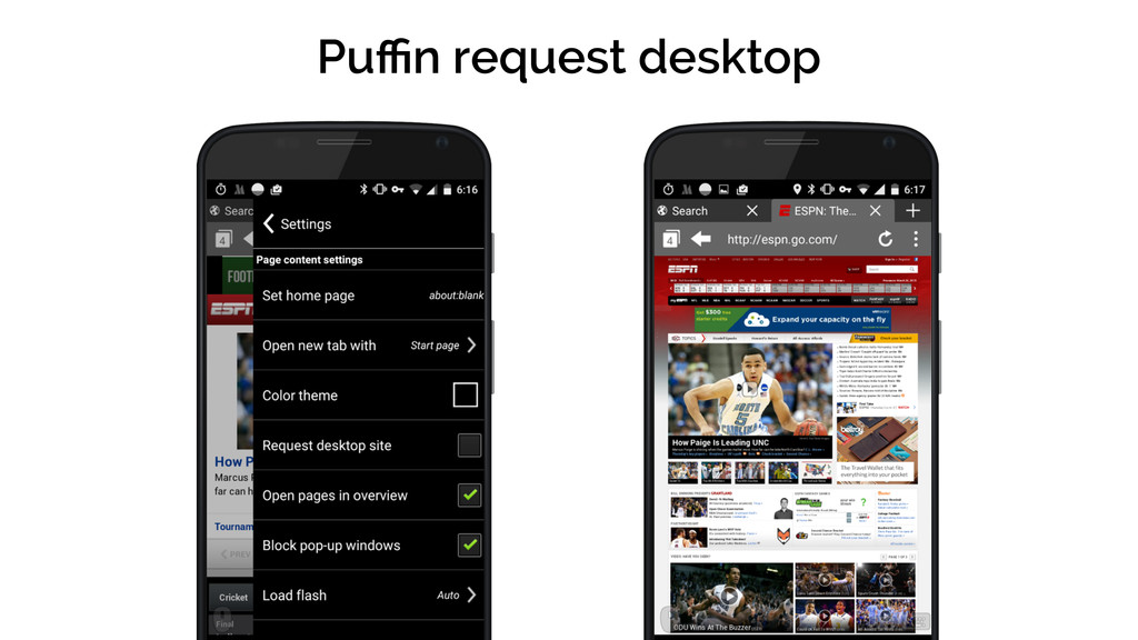 Puffin request desktop