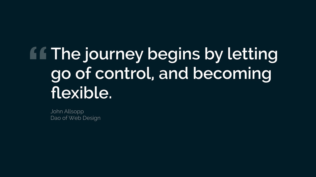 """The journey begins by letting go of control, a..."