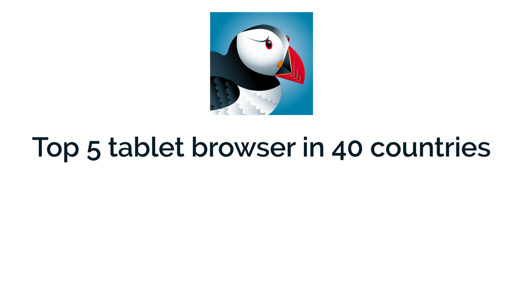 Top 5 tablet browser in 40 countries
