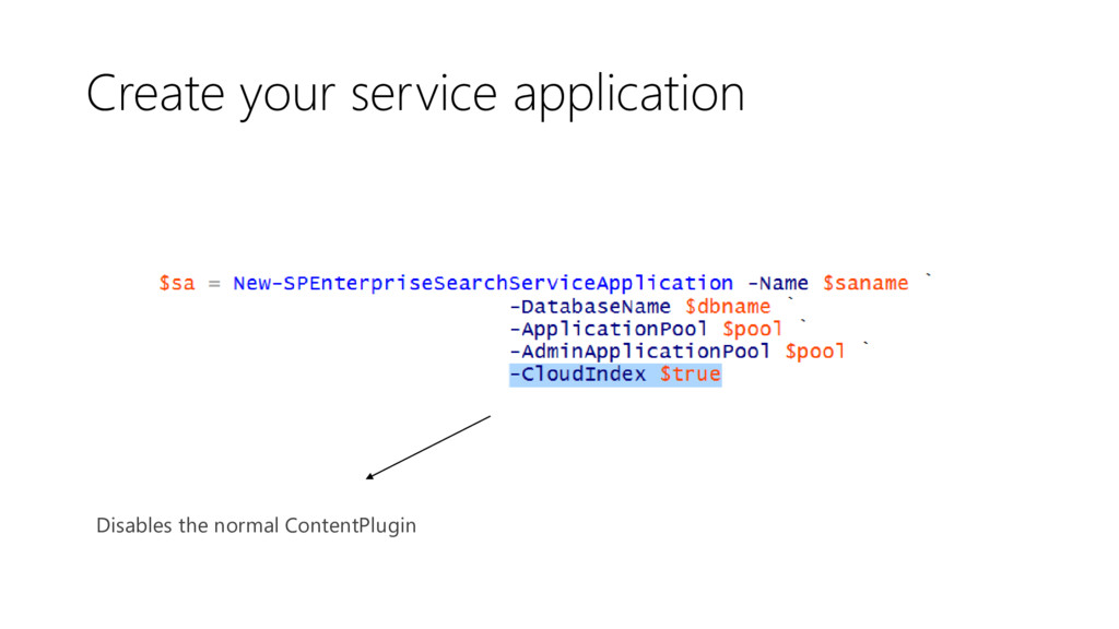 Create your service application Disables the no...