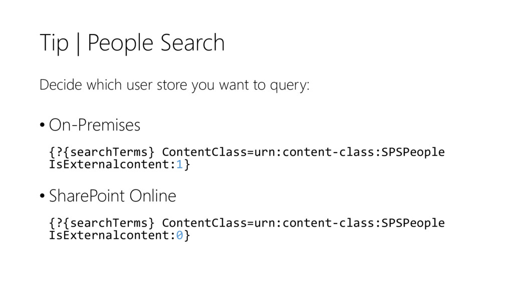 Tip | People Search Decide which user store you...