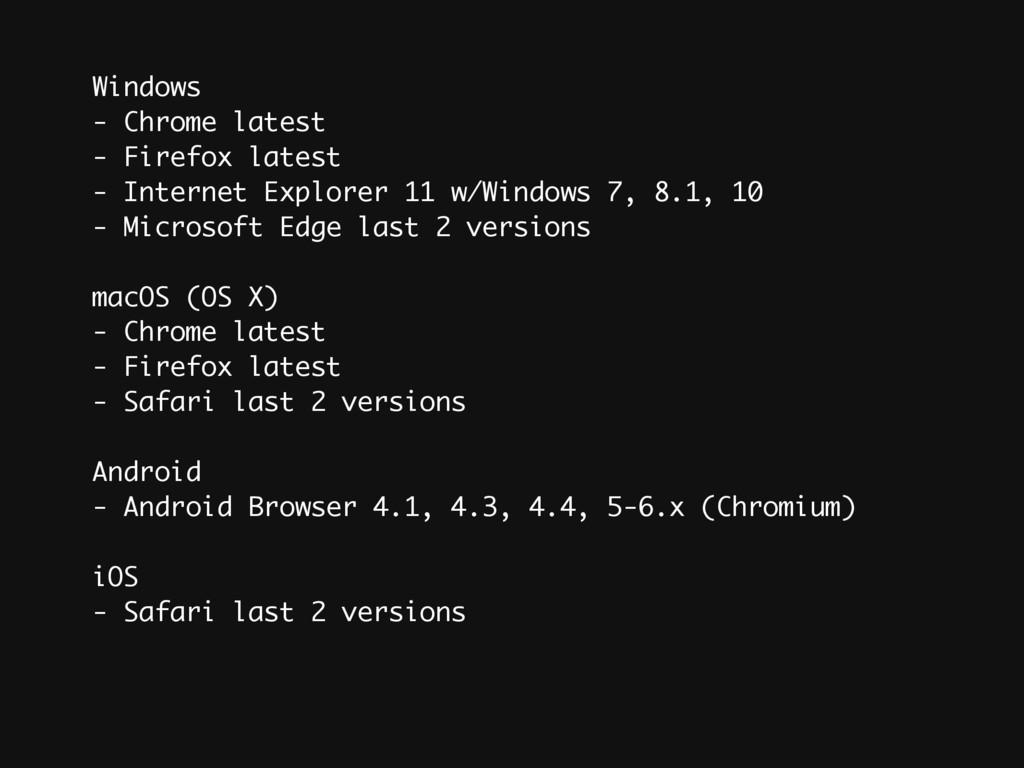 Windows - Chrome latest - Firefox latest - Inte...