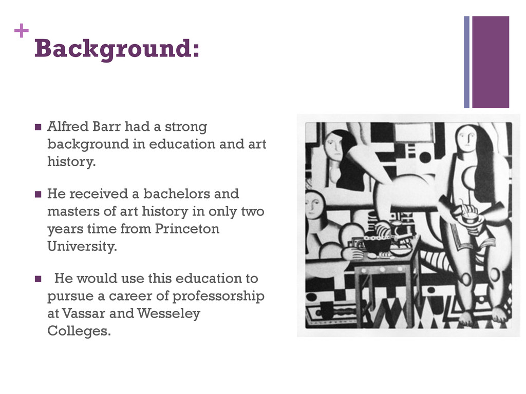 + Background: n Alfred Barr had a strong back...