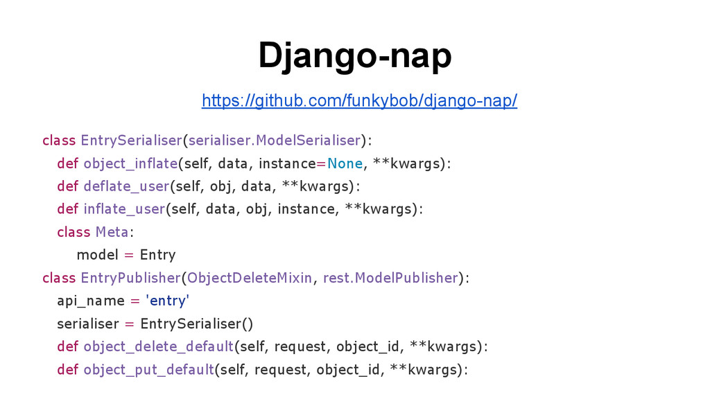 Django-nap class EntrySerialiser(serialiser.Mod...