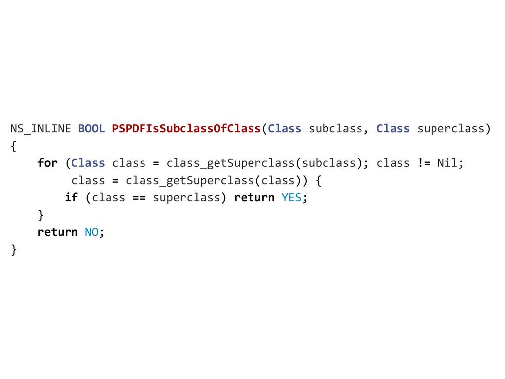NS_INLINE BOOL PSPDFIsSubclassOfClass(Cla...