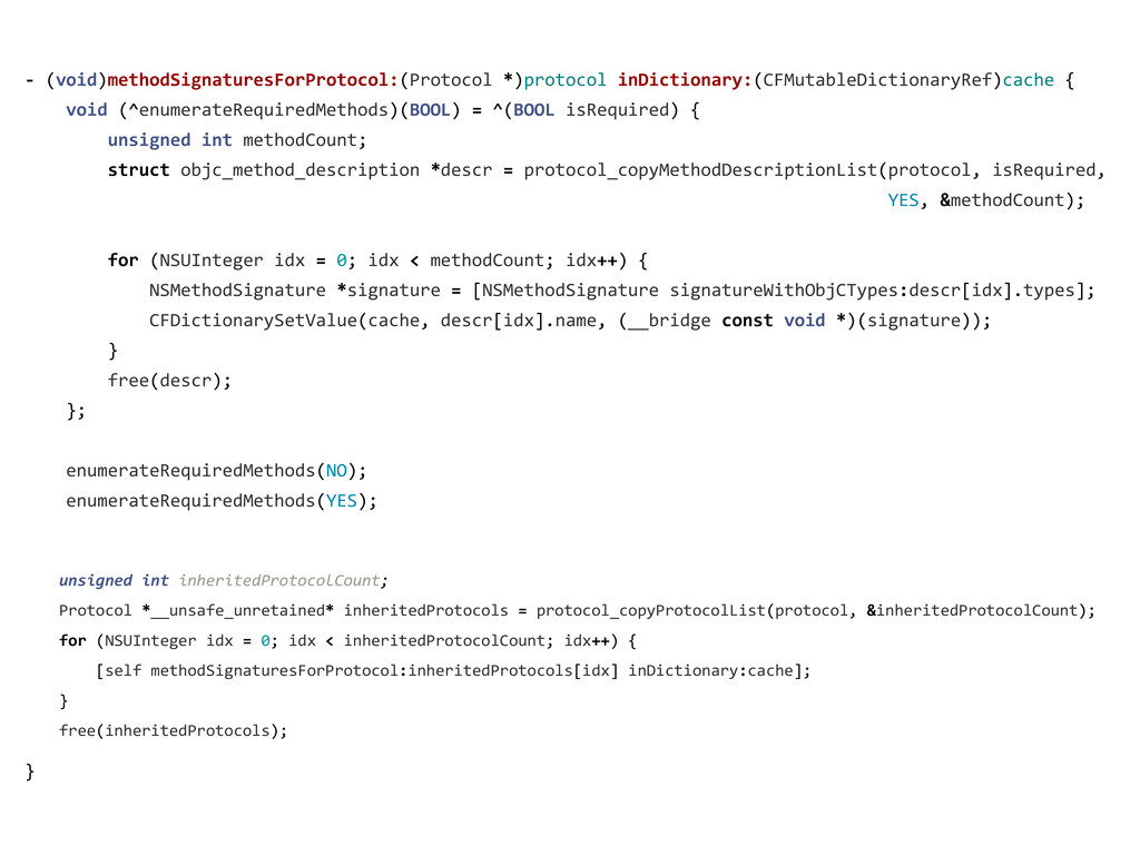 -‐ (void)methodSignaturesForProtocol:(Proto...