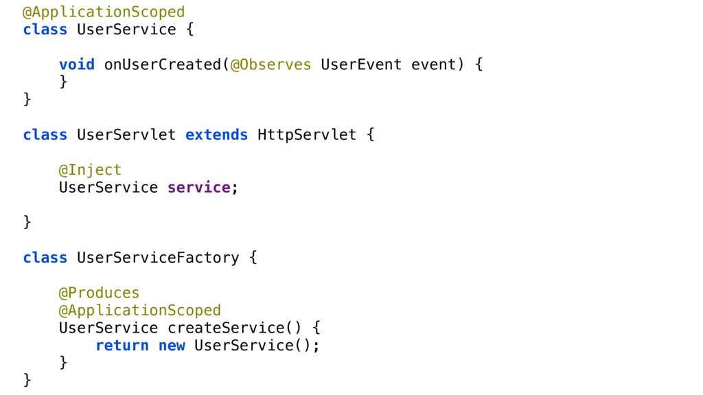 @ApplicationScoped class UserService { void onU...