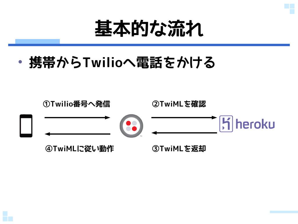 基本的な流れ • 携帯からTwilioへ電話をかける ①Twilio番号へ発信 ②TwiMLを...