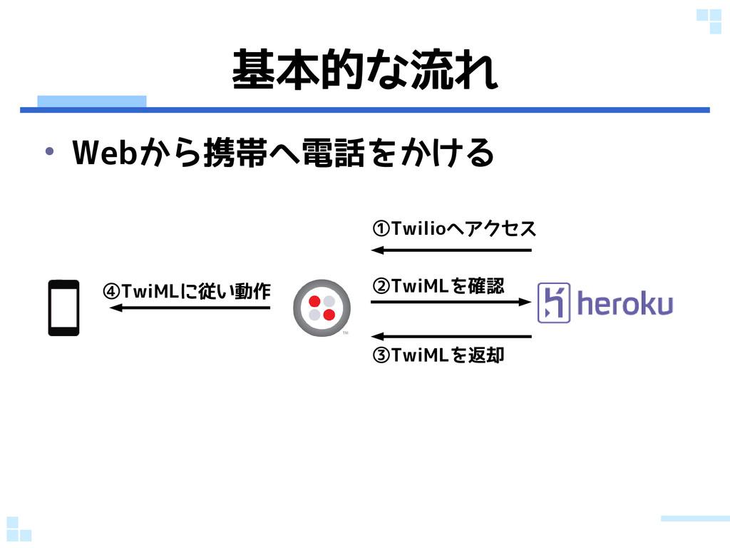 基本的な流れ • Webから携帯へ電話をかける ②TwiMLを確認 ③TwiMLを返却 ④Tw...